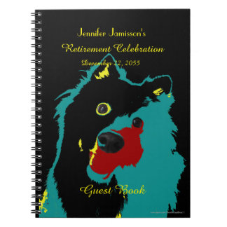 Retirement Party Guest Book, Teal Dog Notebook