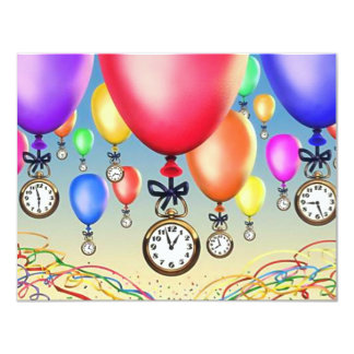 "RETIREMENT PARTY INVITATION ~ BALLOONS & WATCHES! 4.25"" X 5.5"" INVITATION CARD"