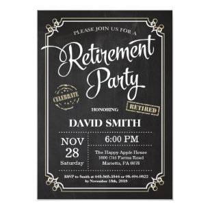 Retirement Party Invitation Card Chalkboard