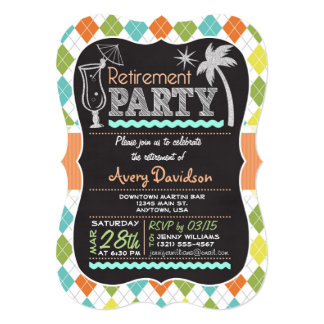 Retirement Party Invitation; Colorful Retro Argyle Card