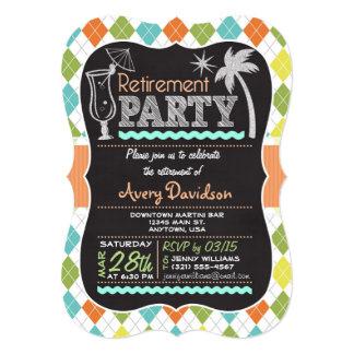 Retirement Party Invitation; Colorful Retro Argyle Card