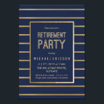 "Retirement Party Invitation - Customize, Classy<br><div class=""desc"">This elegant and classy retirement party invitation can be customized for your special occasion. It features a gold frame and gold background lines. The background color is navy blue, but can be changed to your liking. The text can also be customized for your event. A perfect invite for a retiree&#39;s...</div>"