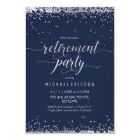 Retirement Party Invitation - Elegant Silver, Navy
