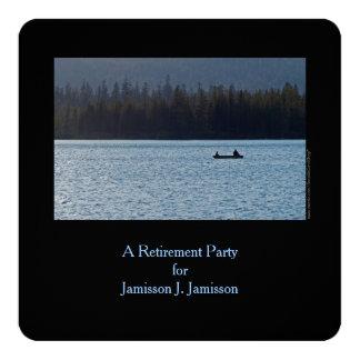 Retirement Party Invitation, Fisherman and Son 5.25x5.25 Square Paper Invitation Card