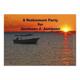 "Retirement Party Invitation Fishing Boat at Sunset 5"" X 7"" Invitation Card"