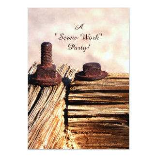 Retirement Party Invitation, Funny, Screw Work Card