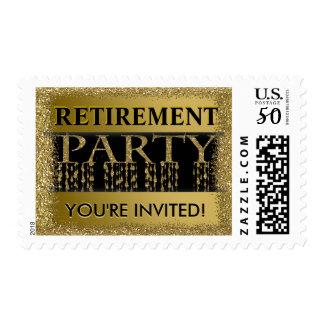 Retirement Party Invitation | Gold Glitter Postage