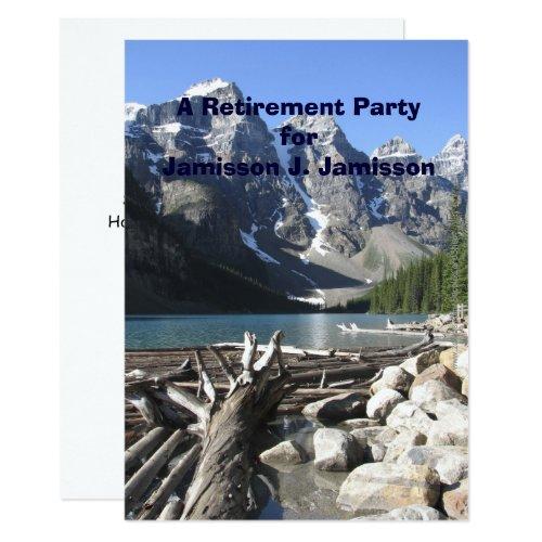 Retirement Party Invitation, Mountains Driftwood Invitation