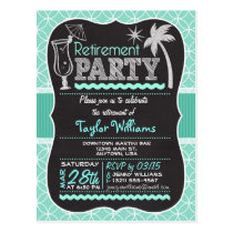 Retirement Party Invitation on Aqua Pattern Postcard