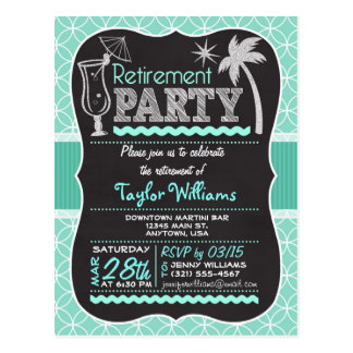 Retirement Party Invitation on Aqua Pattern Postcard