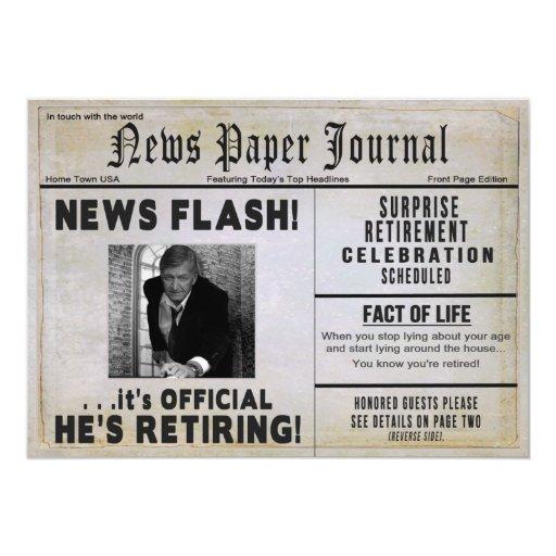 Retirement Party Invitation Photo Insert News 5 Quot X 7 Quot Invitation Card Zazzle