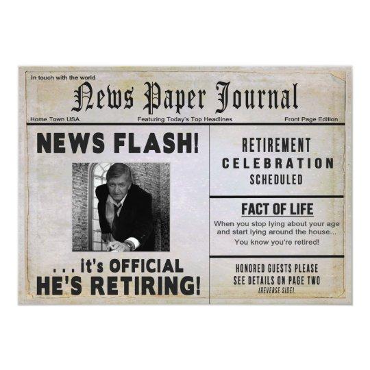 Retirement Party Invitation   PHOTO INSERT/ News