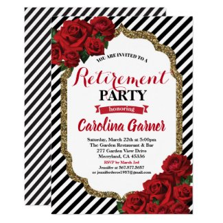 Retirement party invitation red roses and gold