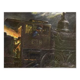 Retirement Party Invitation RR Stoking Locomotive
