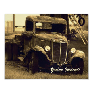 Retirement Party Invitation - Sepia Farm Truck