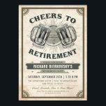 "Retirement Party Invitation Vintage Cheers &amp; Beer<br><div class=""desc"">Retirement Party Invitation Vintage Cheers &amp; Beer. Teachers retirement,  lawyers retirement. Cheers &amp; Beers</div>"
