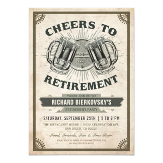 Retirement Party Invitation Vintage Cheers & Beer