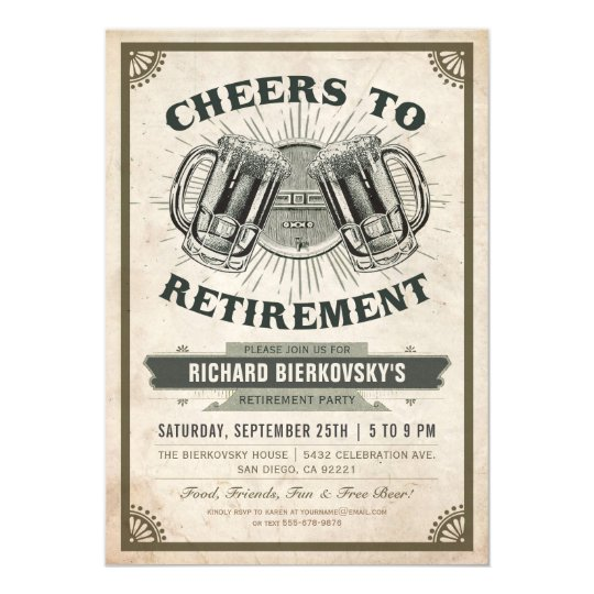 Retirement party invitation vintage cheers beer zazzle retirement party invitation vintage cheers beer stopboris Images