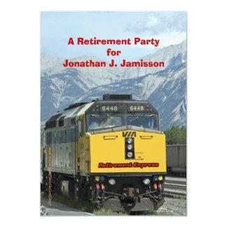 Retirement Party Invitation, Yellow Train Railroad Card