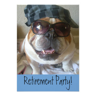 Retirement Party Invitations English Bulldog