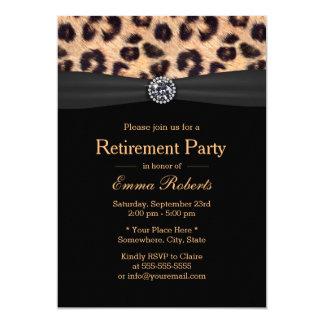 Retirement Party Luxury Diamond & Leopard Print Card