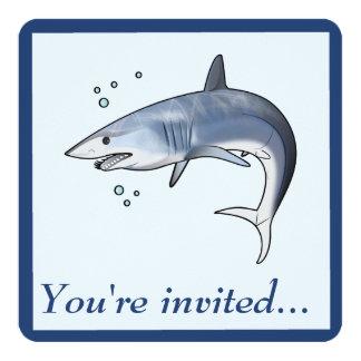 Retirement Party: Mako Shark 5.25x5.25 Square Paper Invitation Card