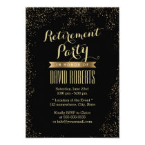 Retirement Party Modern Gold Confetti Card