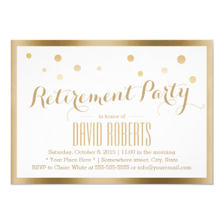 Retirement Party Modern Gold Framed Confetti Dots Card