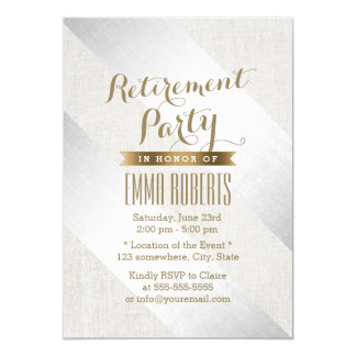Retirement Party Modern Silver Gold Elegant Linen Card
