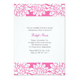 Retirement Party Pink Modern and Floral Invite
