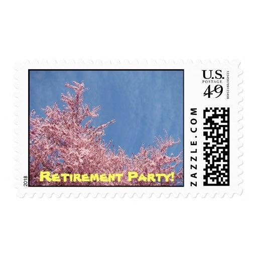 Retirement Party! postage stamps Spring Trees Pink