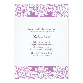 Retirement Party Purple Modern and Floral Invite