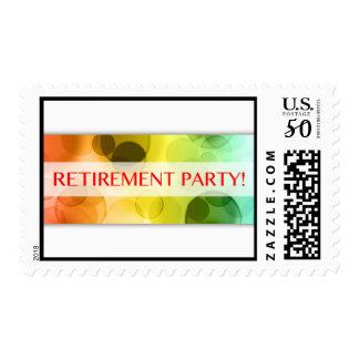 retirement party (rainbow bokeh) postage