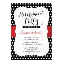 Retirement Party Red Ribbon Black White Polka Dot Card
