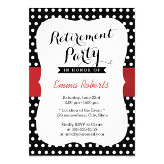 Retirement Party Red Ribbon Black White Polka Dot Card
