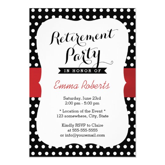 retirement party red ribbon black white polka dot invitation