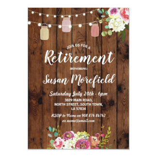 Retirement Party Rustic Jars Wood Floral Invite