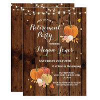 Retirement Party Rustic Wood Pumpkin Invite Lights