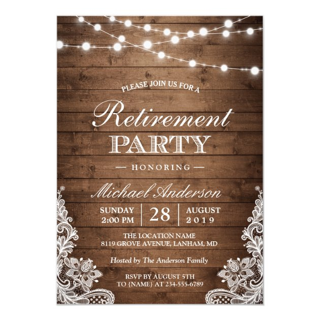 Retirement Party | Rustic Wood String Lights Lace Card
