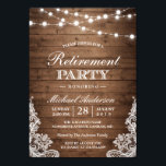"Retirement Party | Rustic Wood String Lights Lace Invitation<br><div class=""desc"">Create the perfect Retirement Party invite with this &quot;Rustic Wood String Lights Lace Invitation&quot; template. You can easily customize it to be uniquely yours! (1) For further customization, please click the &quot;customize further&quot; link and use our design tool to modify this template. (2) If you prefer thicker papers / Matte...</div>"