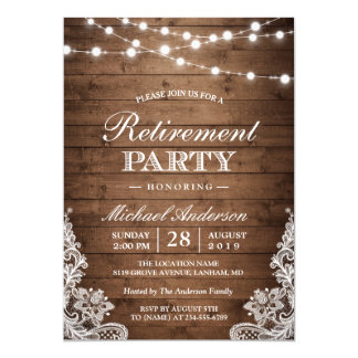 Retirement Party | Rustic Wood String Lights Lace Invitation