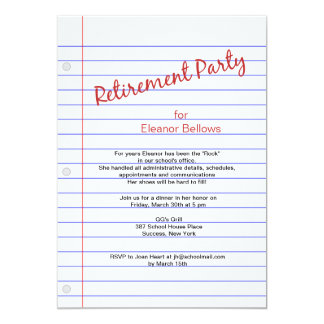 Retirement Party School Theme Card