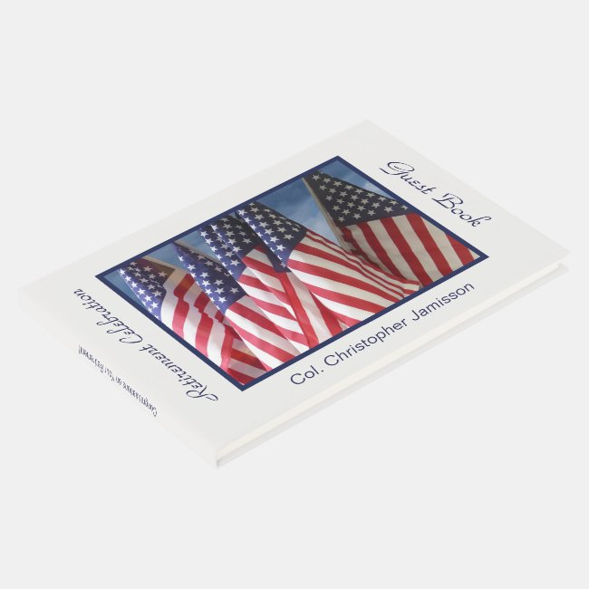Retirement Party Sign-In Book, American Flags
