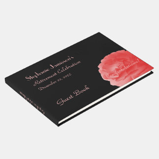 Retirement Party Sign-In Book, Coral Pink Rose Guest Book