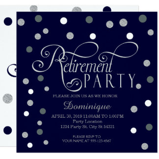 Retirement Party, Silver and Navy Invitations