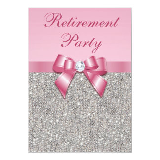 Retirement Party Silver Jewels Pink Faux Bow Card