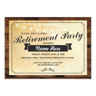 Retirement Party Vintage Retired Paper Wood Invite