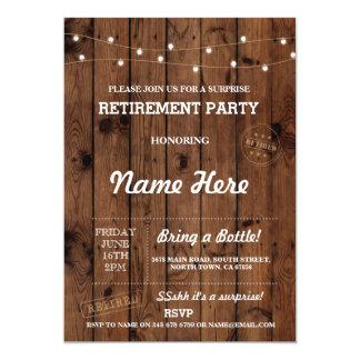 Retirement Party Vintage Retired Wood Invitation