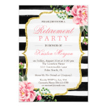 Retirement Party Watercolor Floral Gold Glitter Card