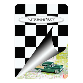 Retirement Party with Old Car 5x7 Paper Invitation Card